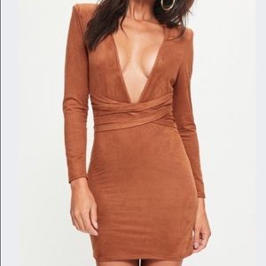 Misguided Faux Suede Belt Detail Bodycon Dress NWT